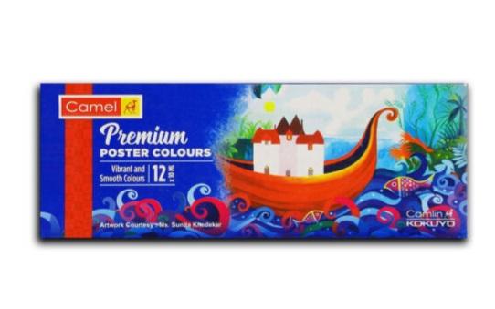 Camlin, Camel, Kokuyo Premium Poster Color - 10ml Each,(Pack of 1 Box 12 Shades)