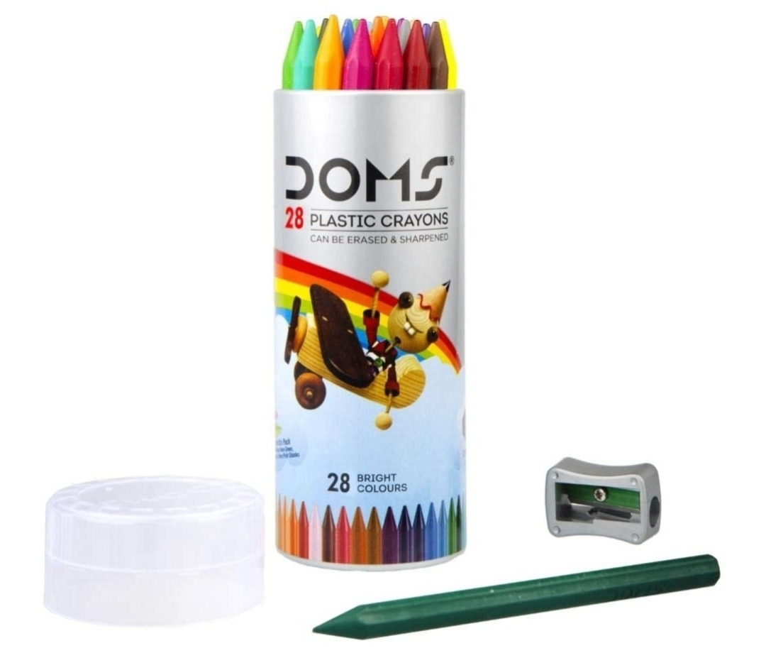 Doms Plastic Crayon 28 Shades Round Tin