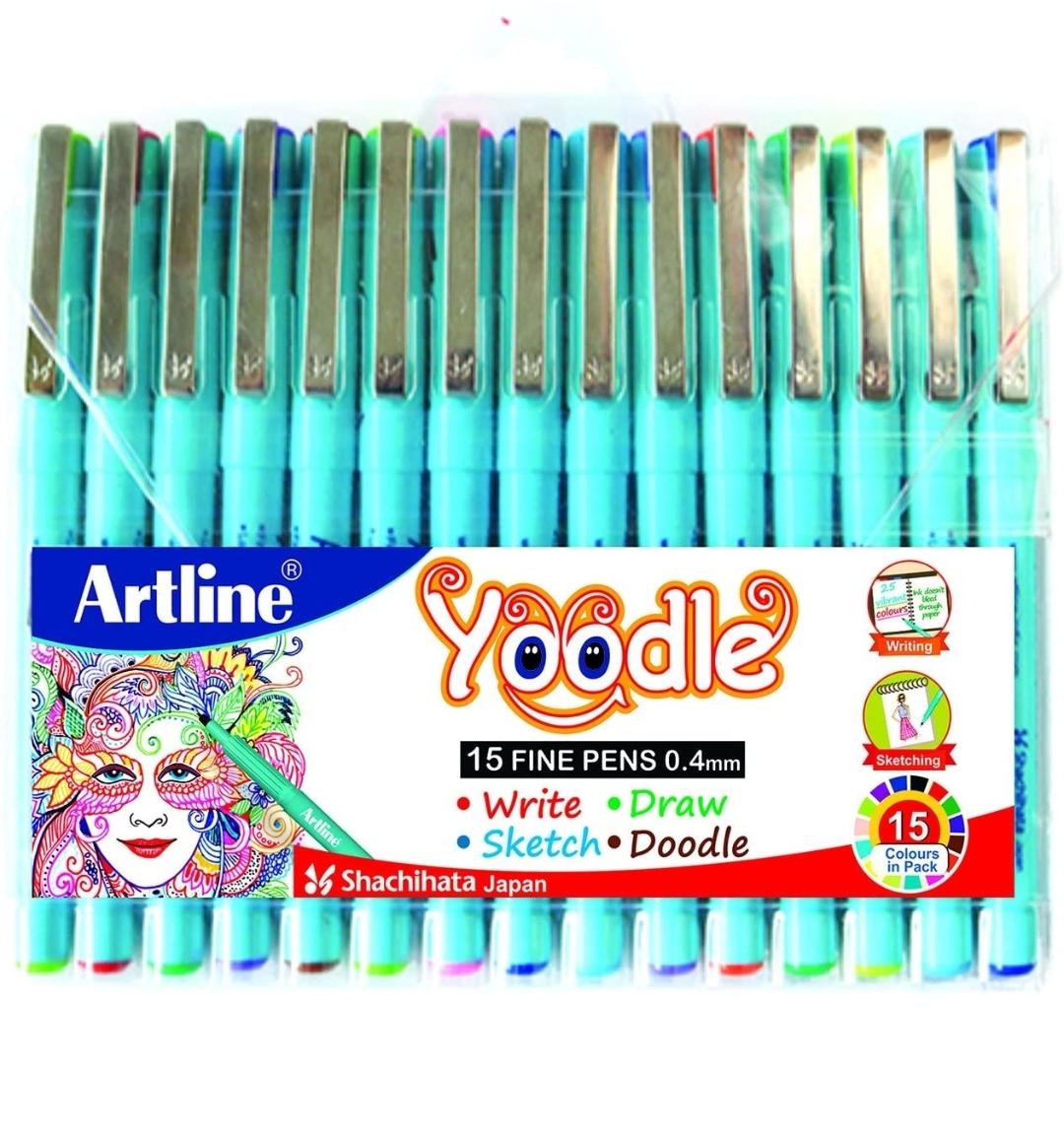Artline Yoodle Fine Line Pens 0.4 mm (Pack of 15 Pens)