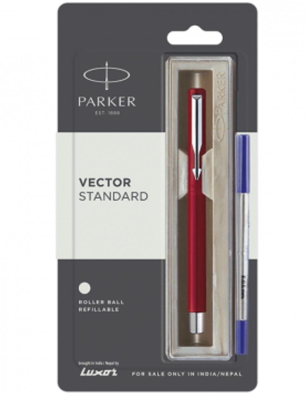 Parker Vector Standard Chrome Trim Roller Ball Pen (Pack of 1) Red Body