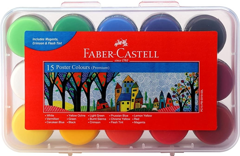 Faber Castell Poster Colours Set of 15 Shades Assorted