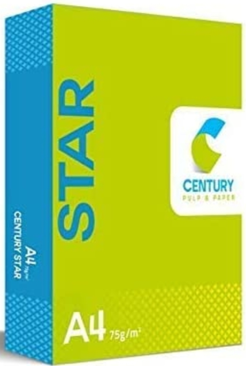 Century Star Copier  Paper A4 Size Paper 75 GSM 500 Sheet Pack of 1