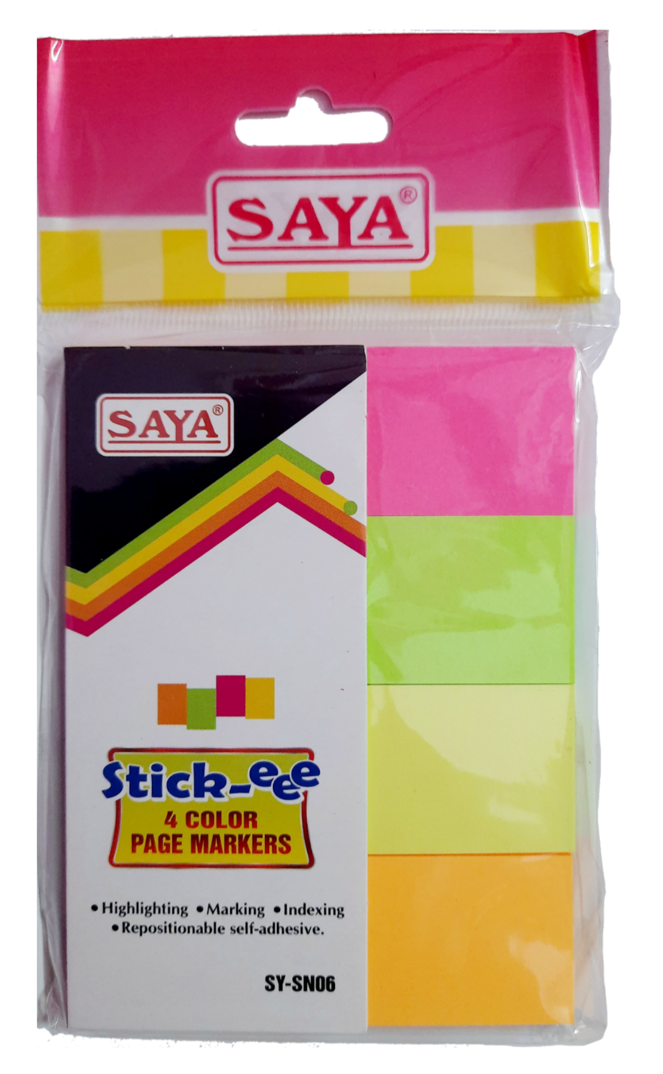 Saya Stick-eee Note Pads, 200 Sheets ,75X75mm, 4 Tabs, Pack of 1