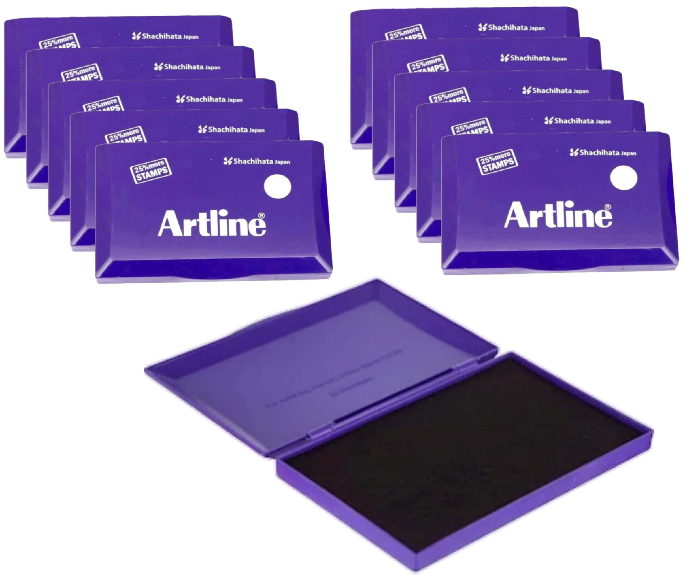 Artline Stamp Pad Medium Size 126X77 MM Violet Ink  Pack of 10 Stamp Pad