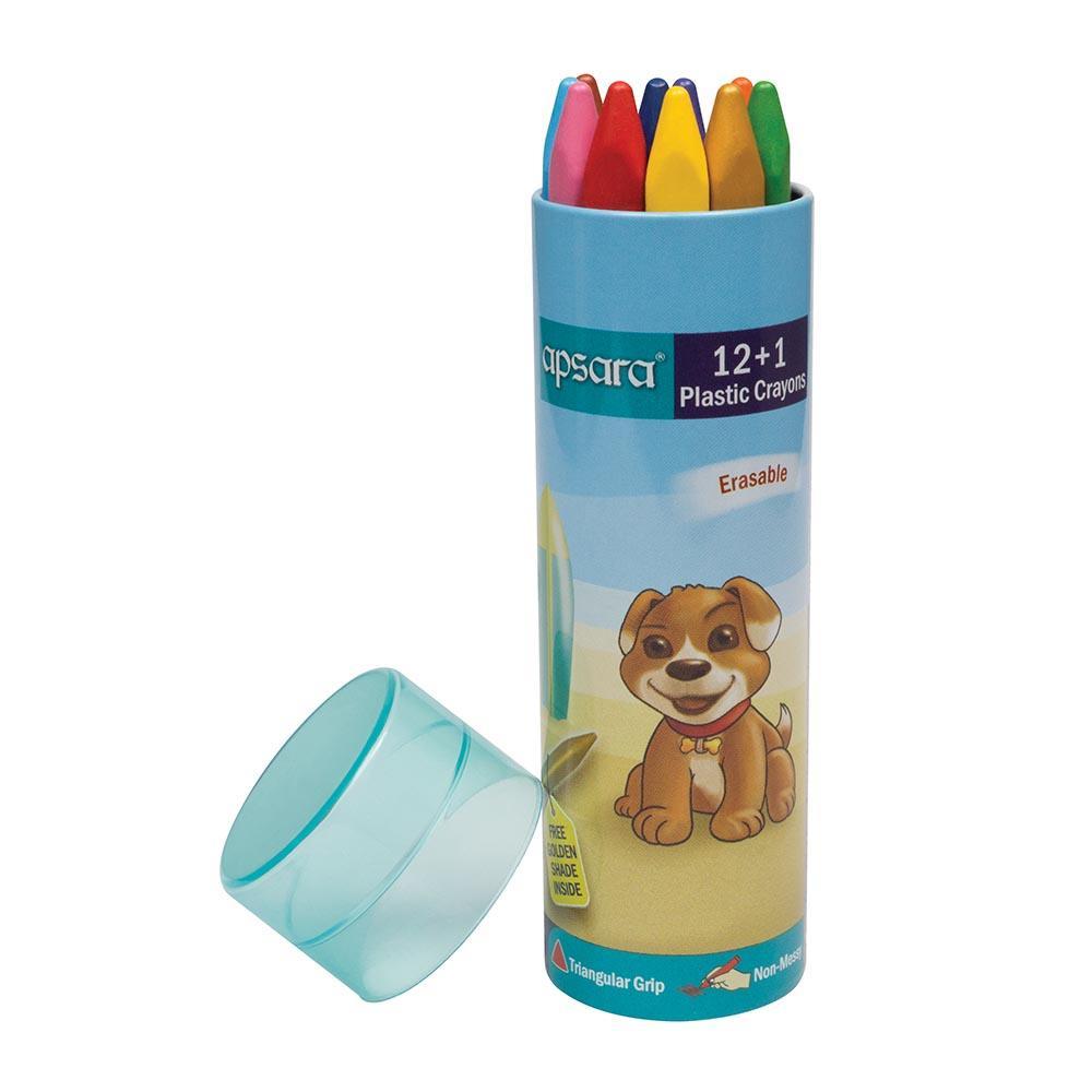 Apsara Plastic Crayons 12 Shades With 1 free Crayon