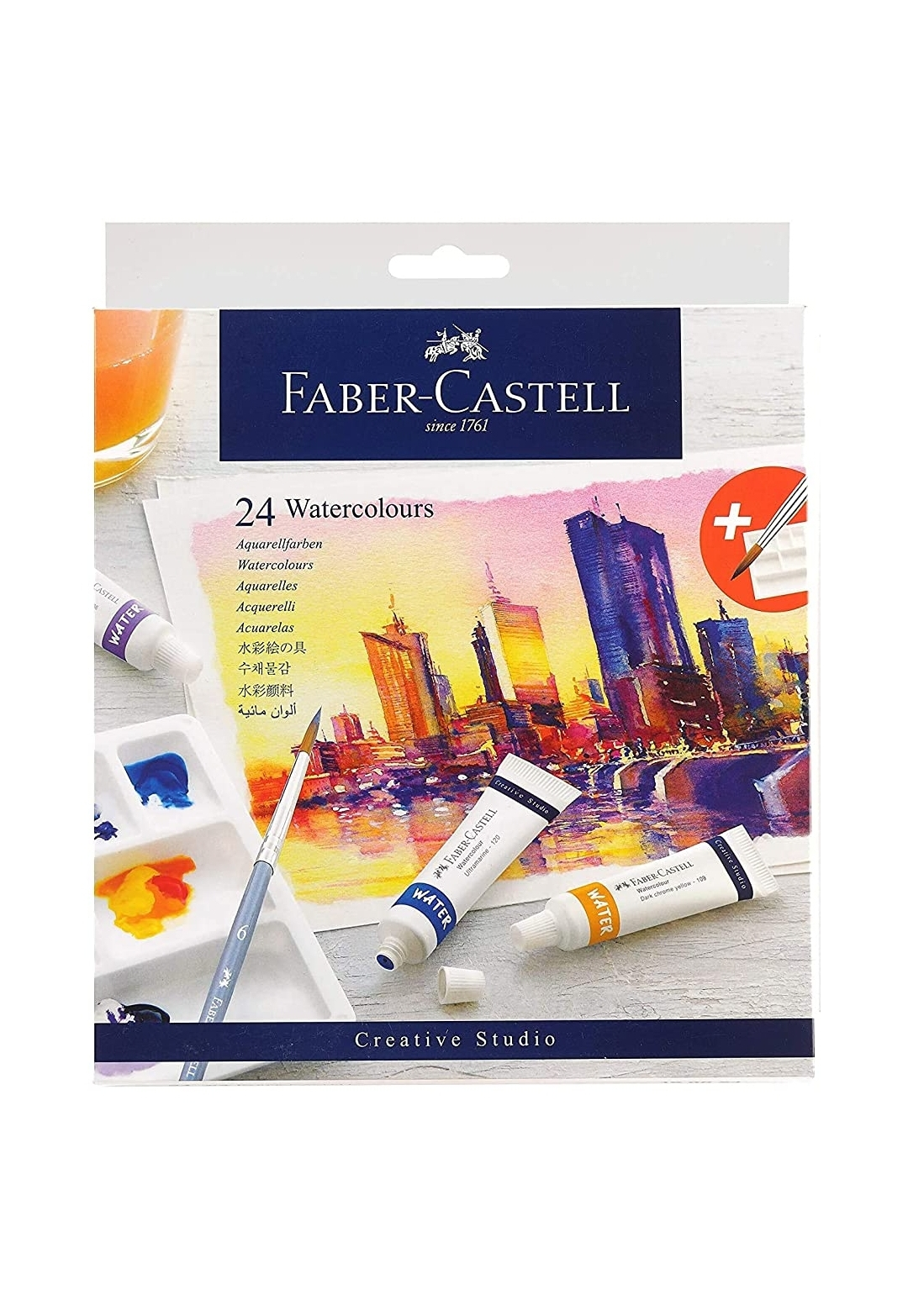 Faber Castell Creative Studio Water Colour 9ml Set of 24 shades With Free Size Brush And Palette Plate