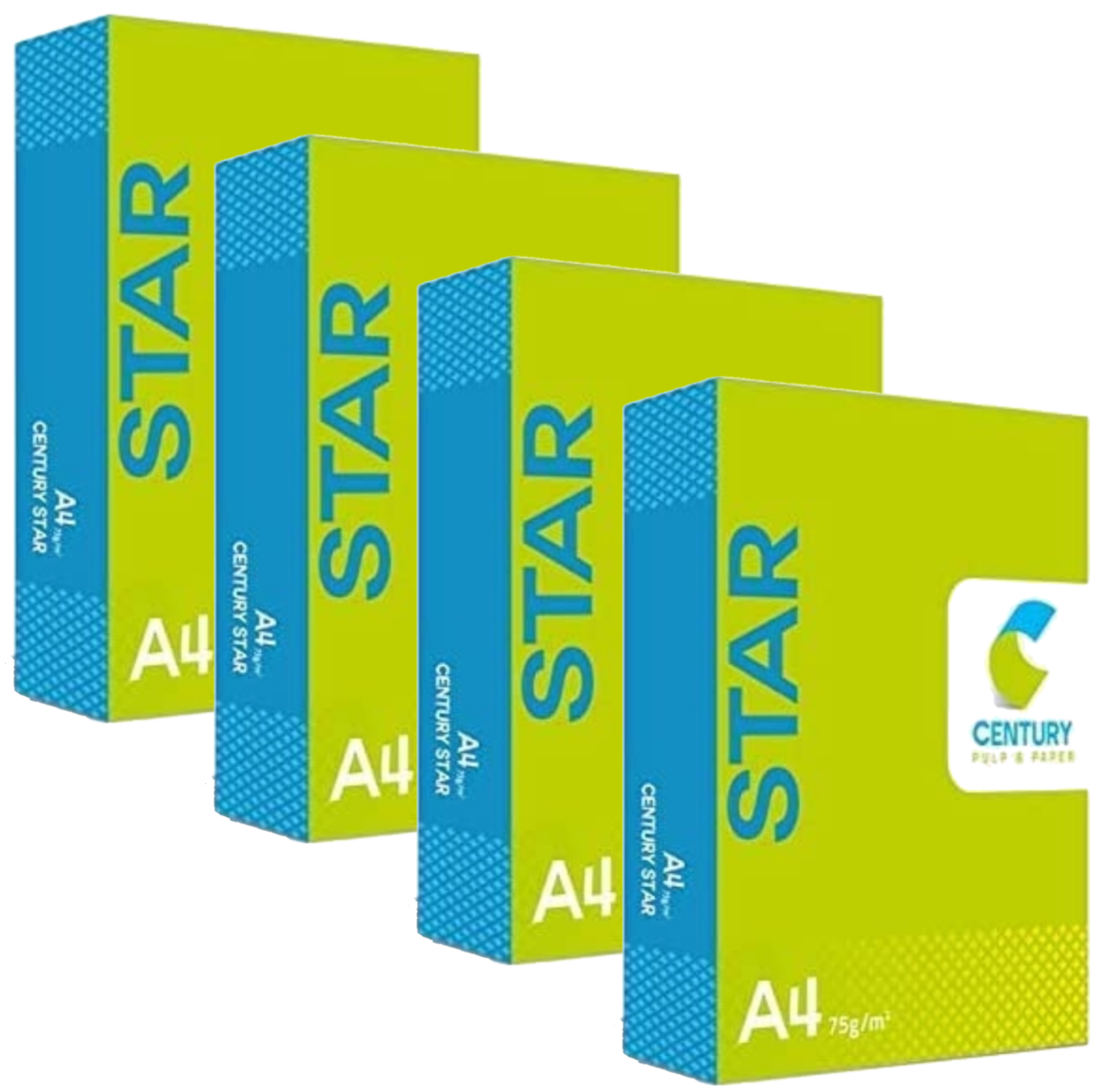 Century Star Copier  Paper A4 Size Paper 75 GSM 500 Sheet Pack of 4