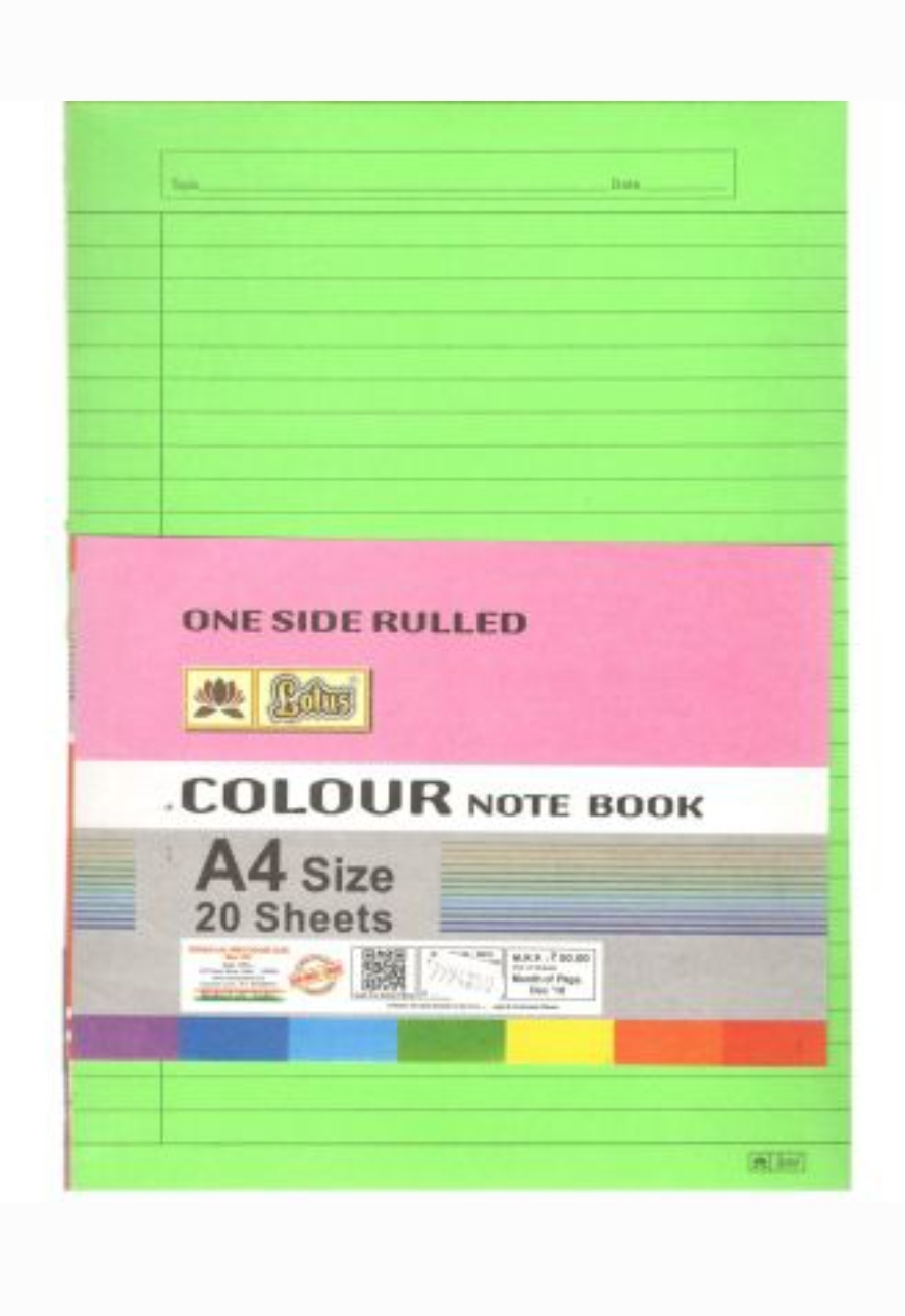 Lotus A4 Size Multi Use Paper Colorful One Side Ruled 20 Sheets Pack