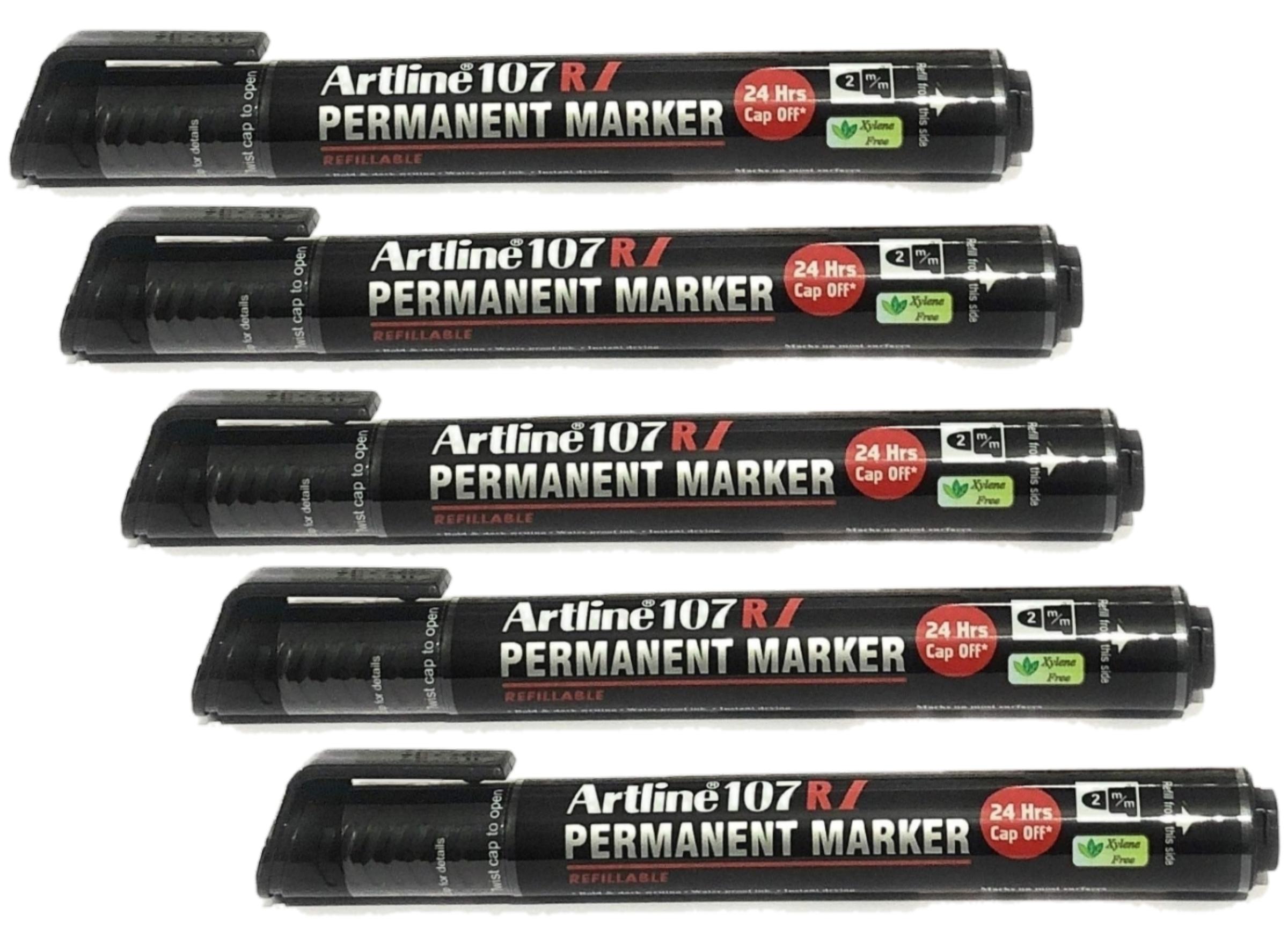 Artline Permanent Marker 107 RI Black Refillable Pack of 5 Marker
