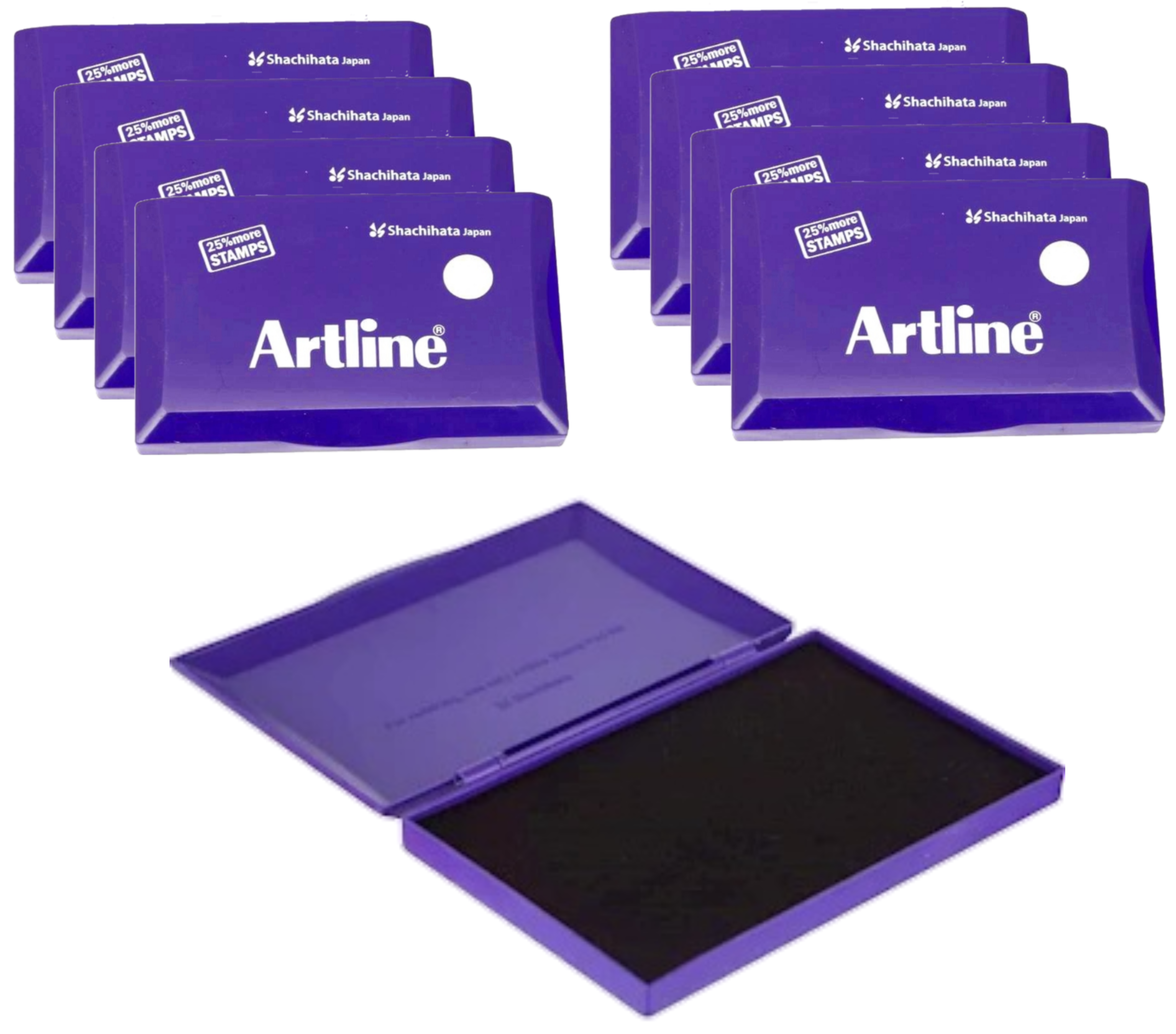 Artline Stamp Pad Small Size 101X61 MM Violet Ink  Pack of 8 Stamp Pad