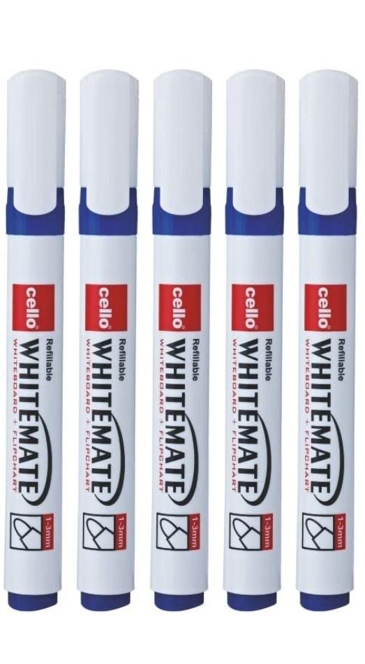Cello Whitemate Pen White Board Marker Pen Blue Color Pack of 5