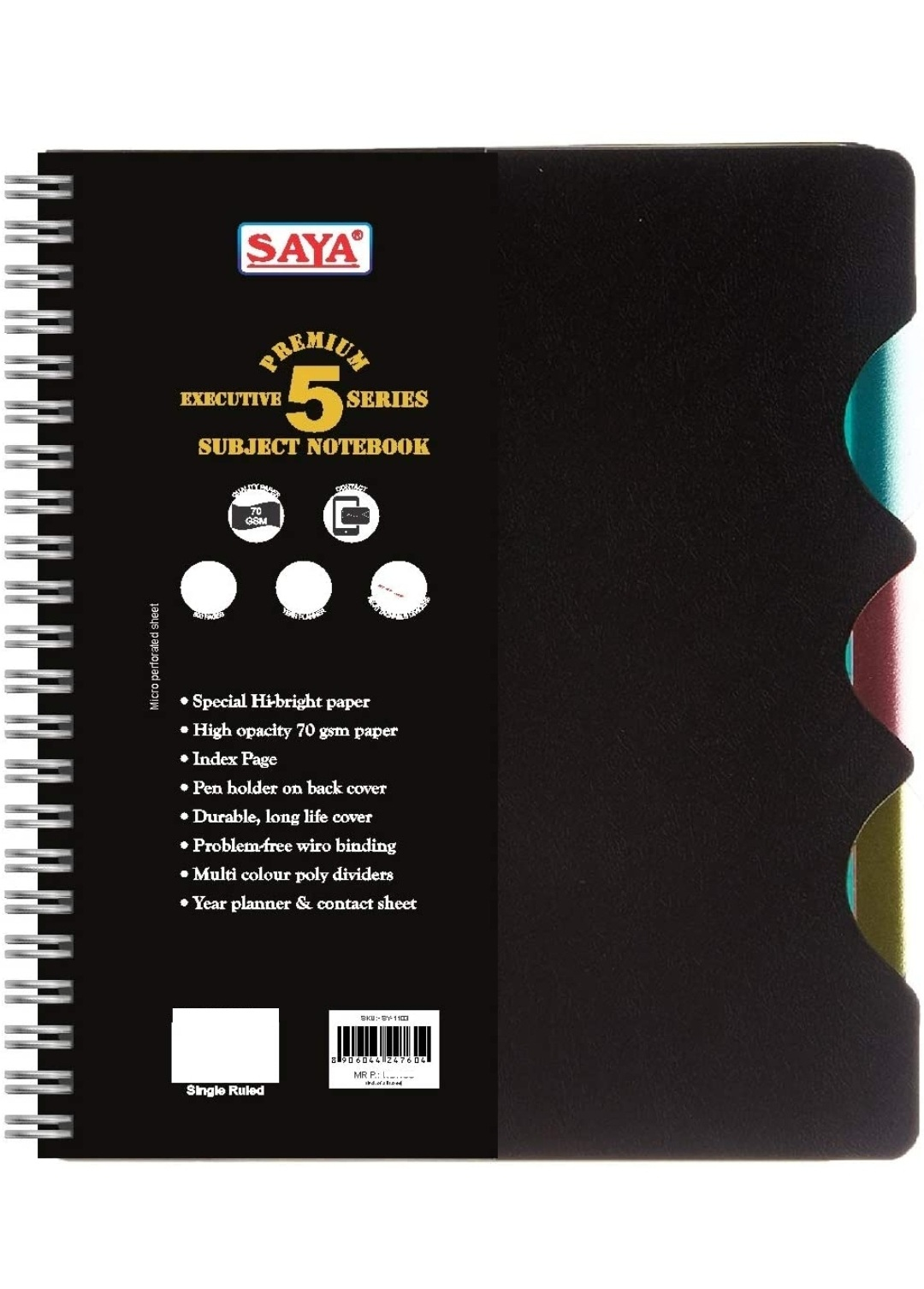 Saya Premium 5 Subject, Spiral Note Book, Executive Series, Single Line, 300 Pages, 25 X 17.6 cm, Pack of 1