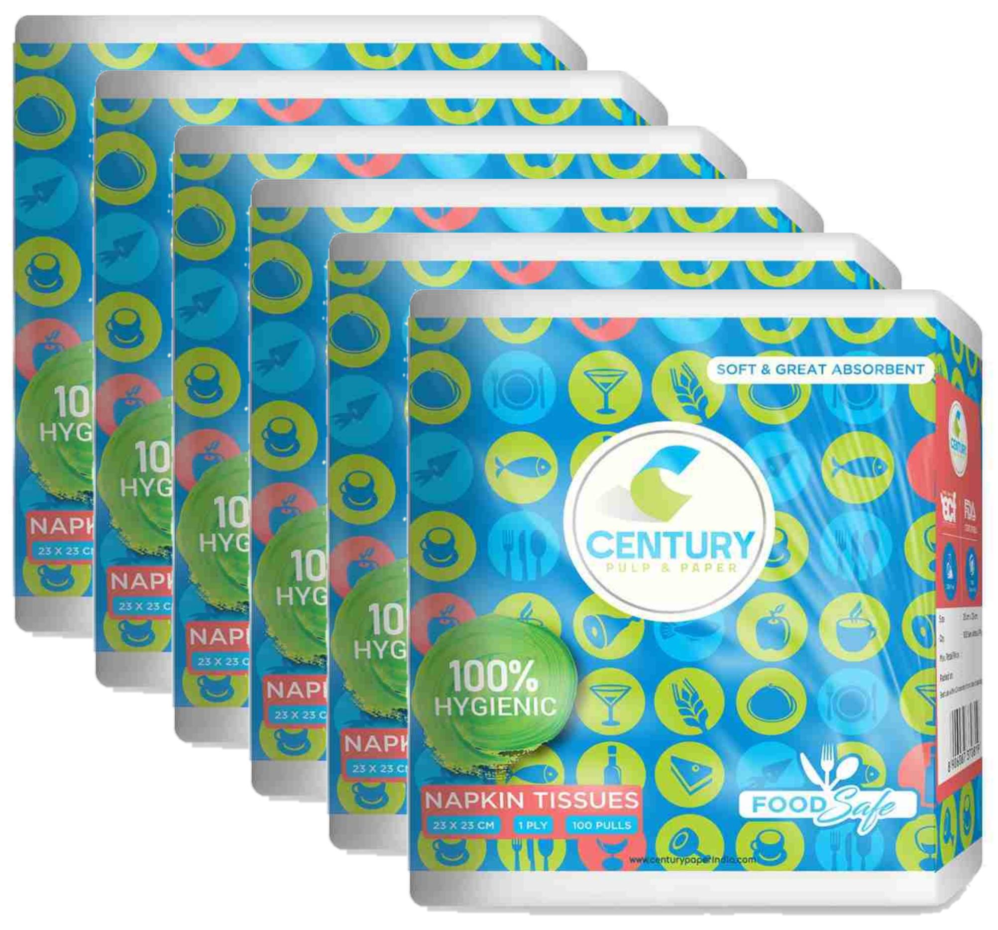 Century Napkin Tissue (23 X 23 cm , 100 Pulls / Serviettes) - Pack Of 6