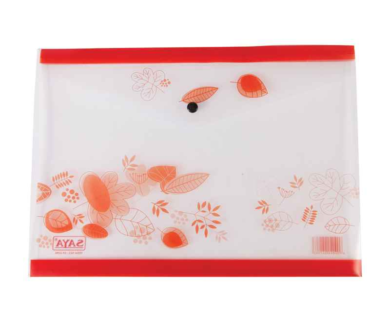 Saya My Clear Bag Flower, SY-229F, 1 Button Folder, 35.5X 25.5 cm, Pack of 1