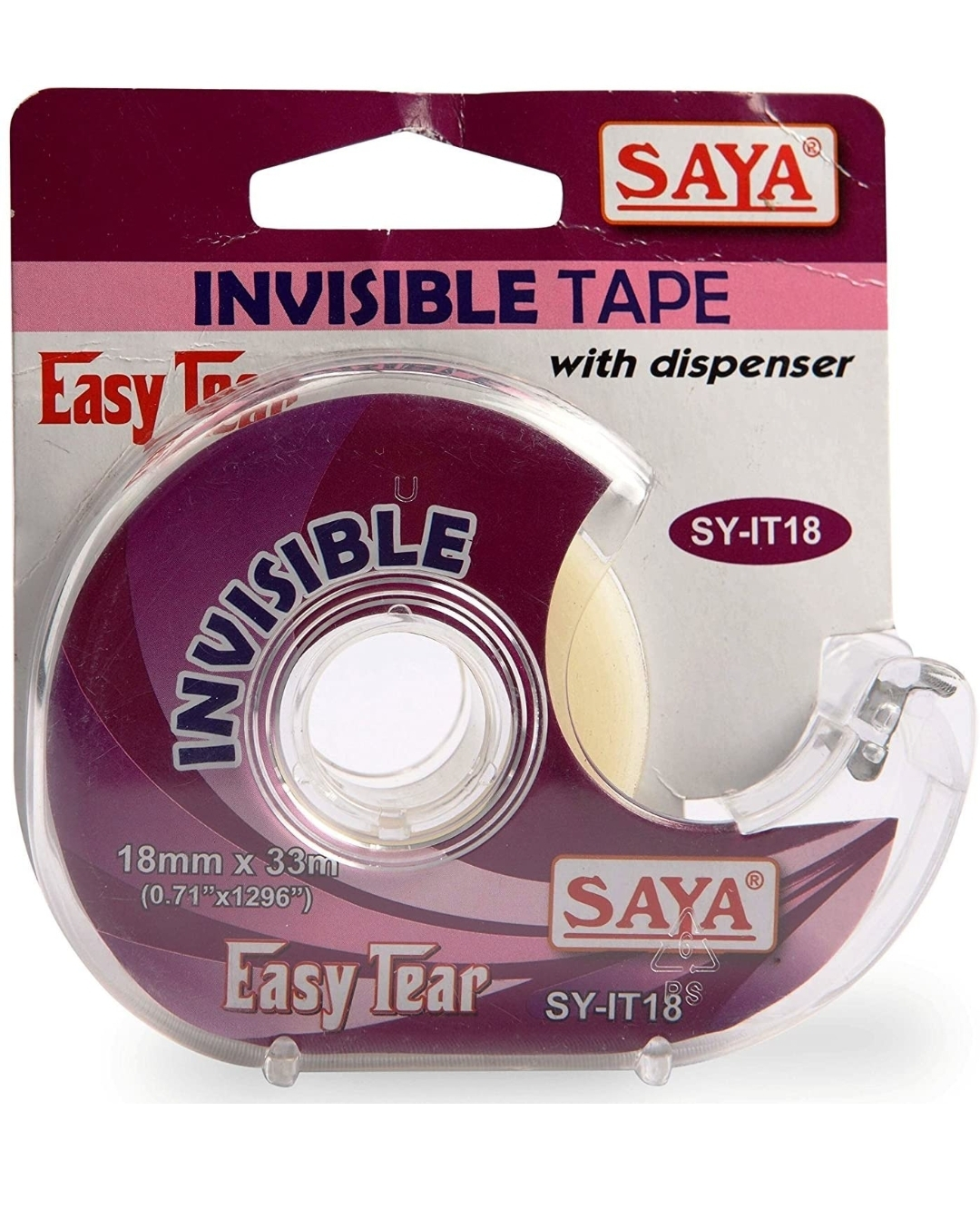 Saya Invisible Tape With Dispenser, SY- IT18, 33 Mtr Length, 18 mm Pack of 1