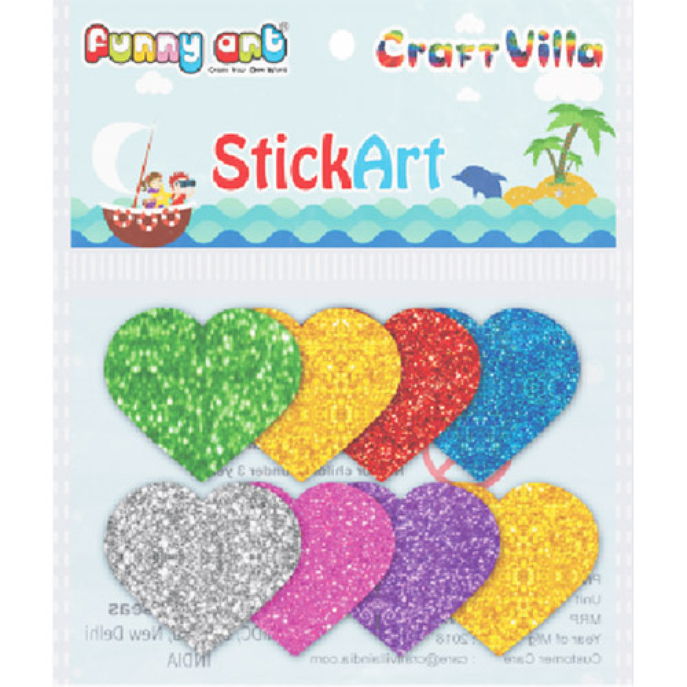 Craft Villa Sparkle Glitter Self Adhesive Multicolor Eva Foam Sticker (Heart Shape) Stickers for Craft , DIY, Scrapbooking and Decoration etc