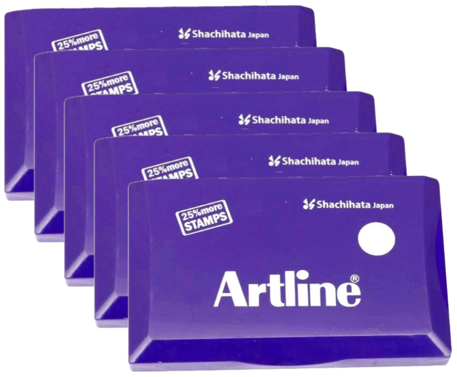 Artline Stamp Pad Medium Size 126X77 MM Violet Ink  Pack of 5 Stamp Pad