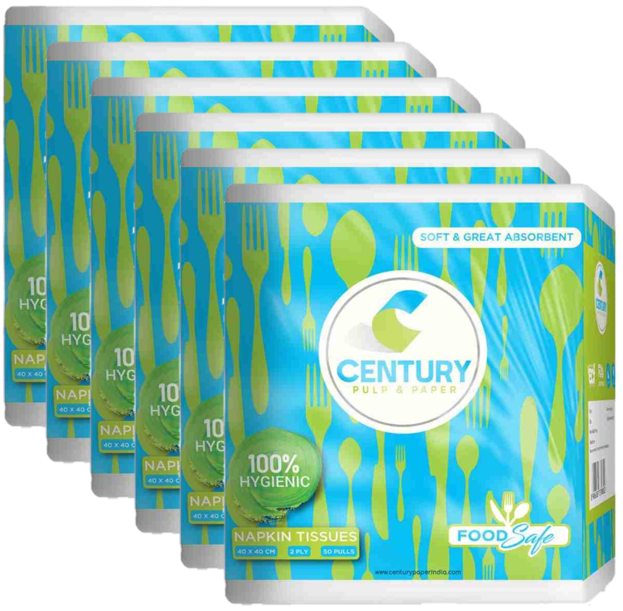 Century Napkin Tissue (40 X 40 cm , 50 Pulls / Serviettes) - Pack Of 6