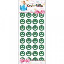 Craft Villa A5 Glitter Self Adhesive (Green Color) Eva Foam Sticker (Smiley Shape) Stickers for Craft , DIY, Scrapbooking and Decoration etc