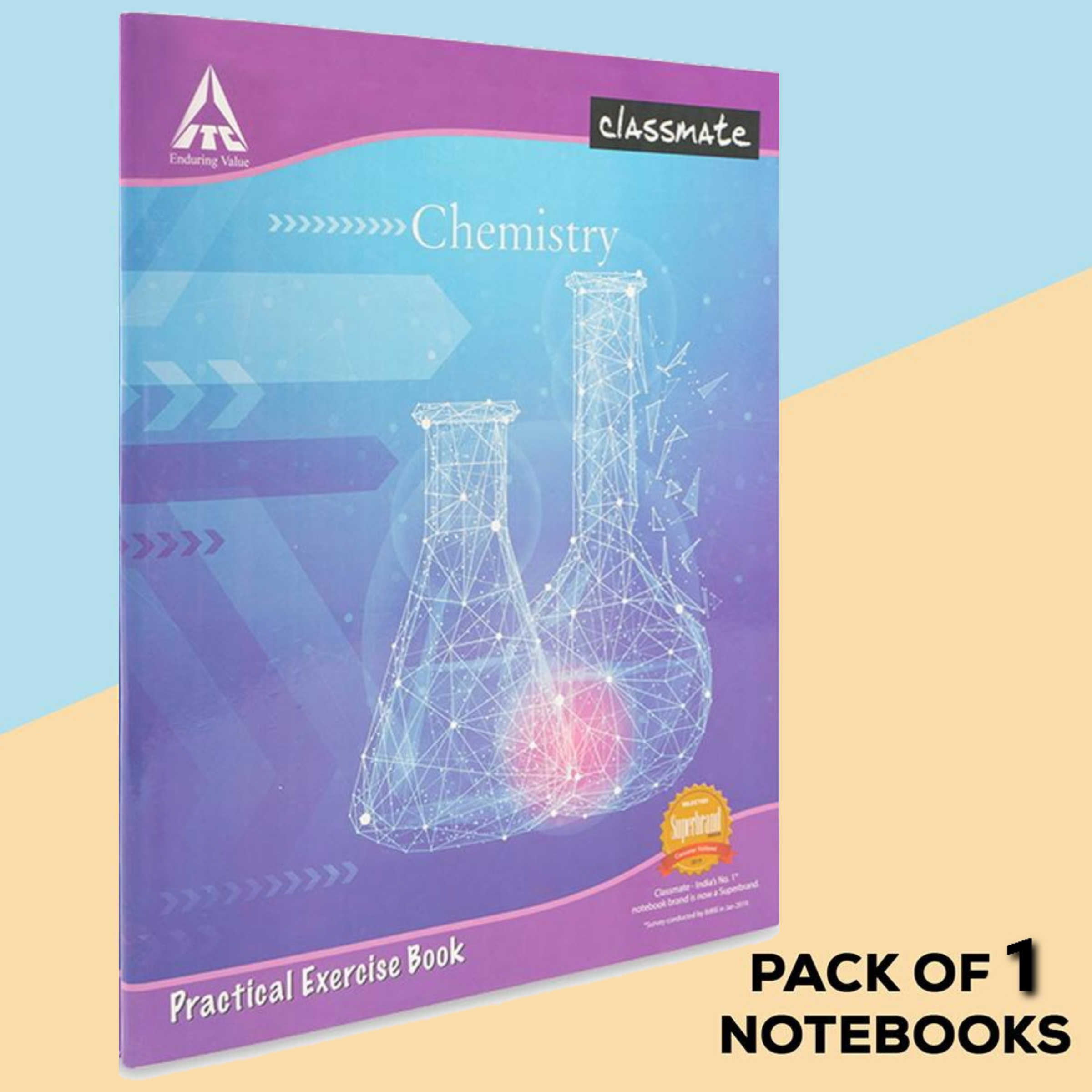 Classmate Chemistry Practical Notebook Hard Cover 108 Pages Single Line/ Blank 26.5X21.5 cm Pack of 1