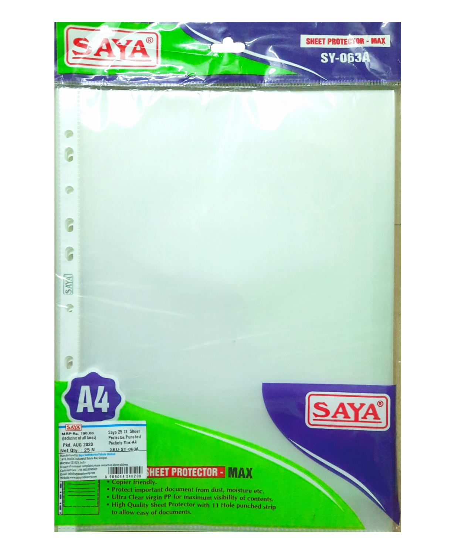 Saya Sheet Protector Max SY- 063A, A4 Size, Pack of 25