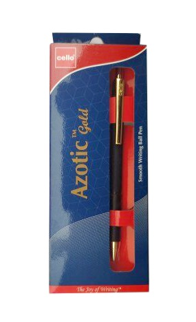 Cello Azotic Gold Ball Pen Smooth Writing Blue Pen Pack of 1
