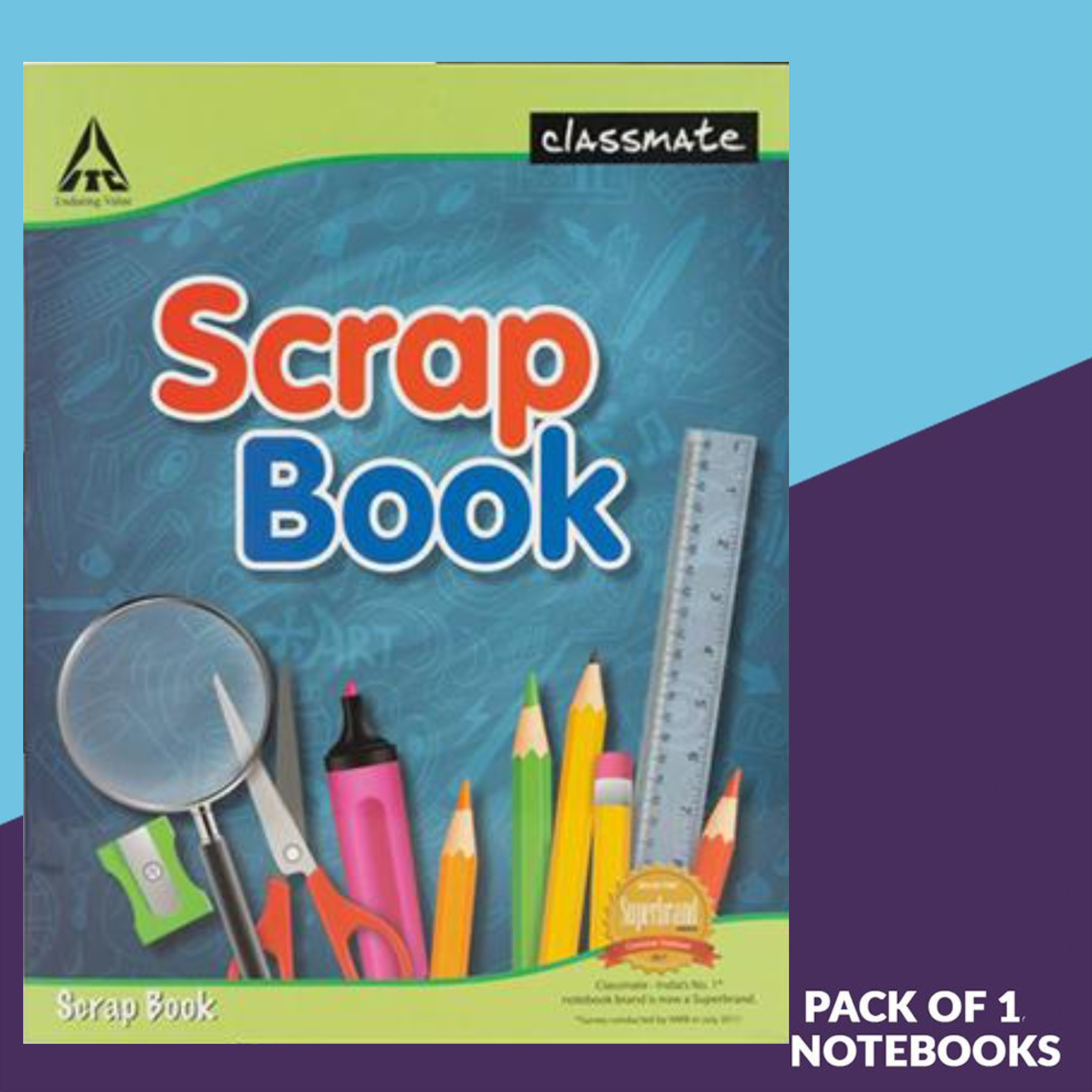 Classmate Scrap Book Soft Cover 36 Pages 28X22 cm Plain and Ruled Pack of 1