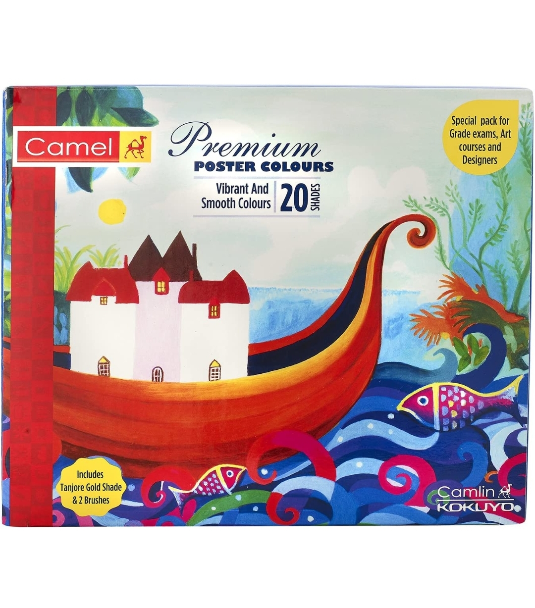 Camel, Camlin Premium Poster Colour with Brush - 20 Shades Pack of 1 Box (Multicolor)