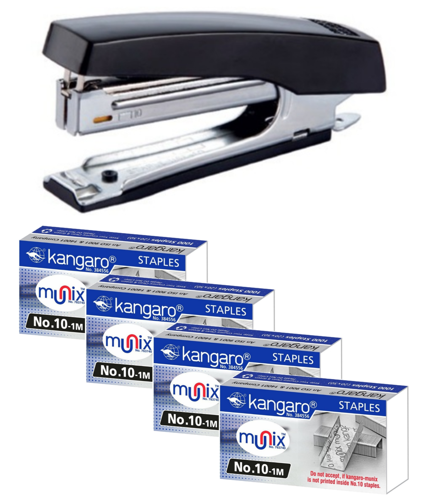 Kangaro HD-10D Stapler With 4 Packs of No. 10-1M Staple Pins Top Loading Combo Pack
