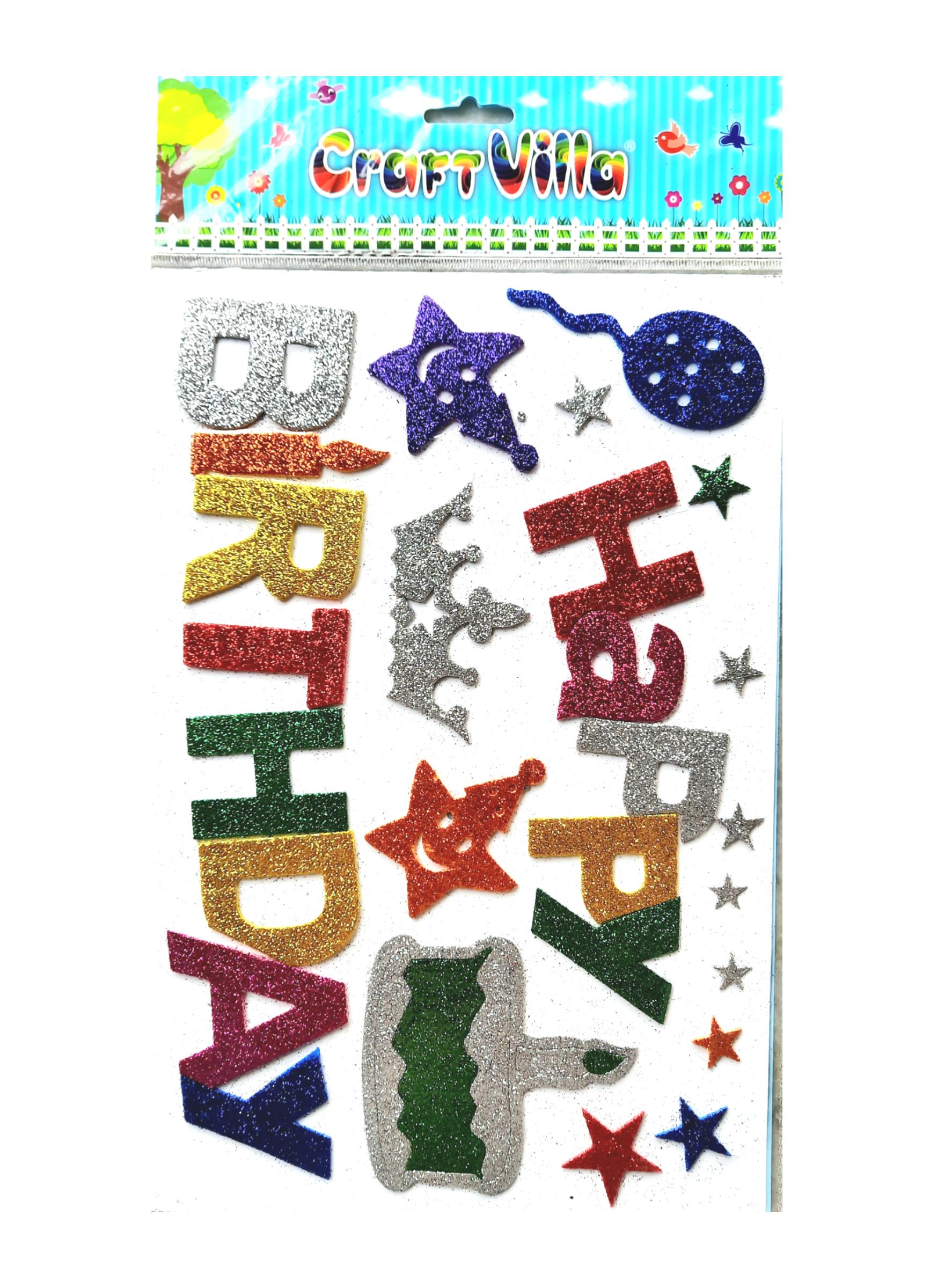 Craft Villa Sparkle Glitter Self Adhesive (Multi Color) Eva Foam Sticker ( Birthday ) Stickers for Craft , DIY, Scrapbooking and Decoration etc