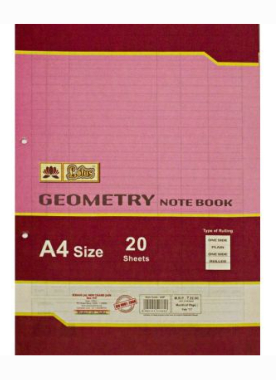 Lotus A4 Size Geometry Paper One Side Ruled 20 Sheets Pack