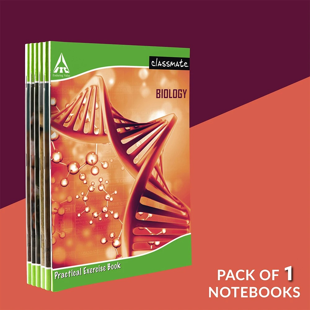 Classmate Biology Practical Notebook Hard Cover Single Line/Blank 108 Pages 26.5X21.5cm Pack of 1