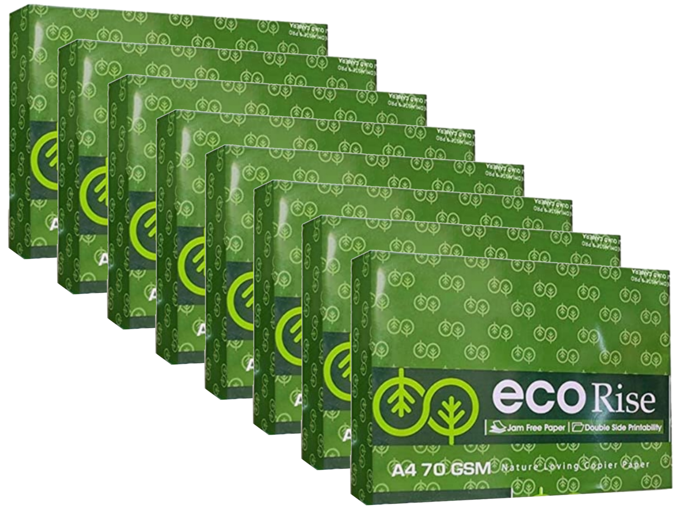 Eco Rise Printing Copy A4 Size JK Paper Eco Tree Friendly 70 GSM 500 Sheet Pack of 8