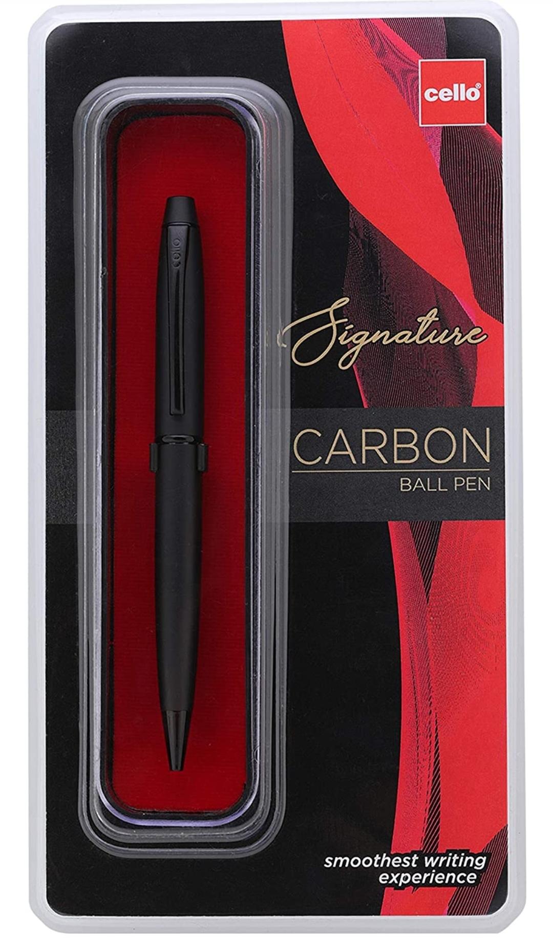 Cello Signature Carbon Ball Pen Blue Pen 0.7 mm Gift Pack of 1 Pen