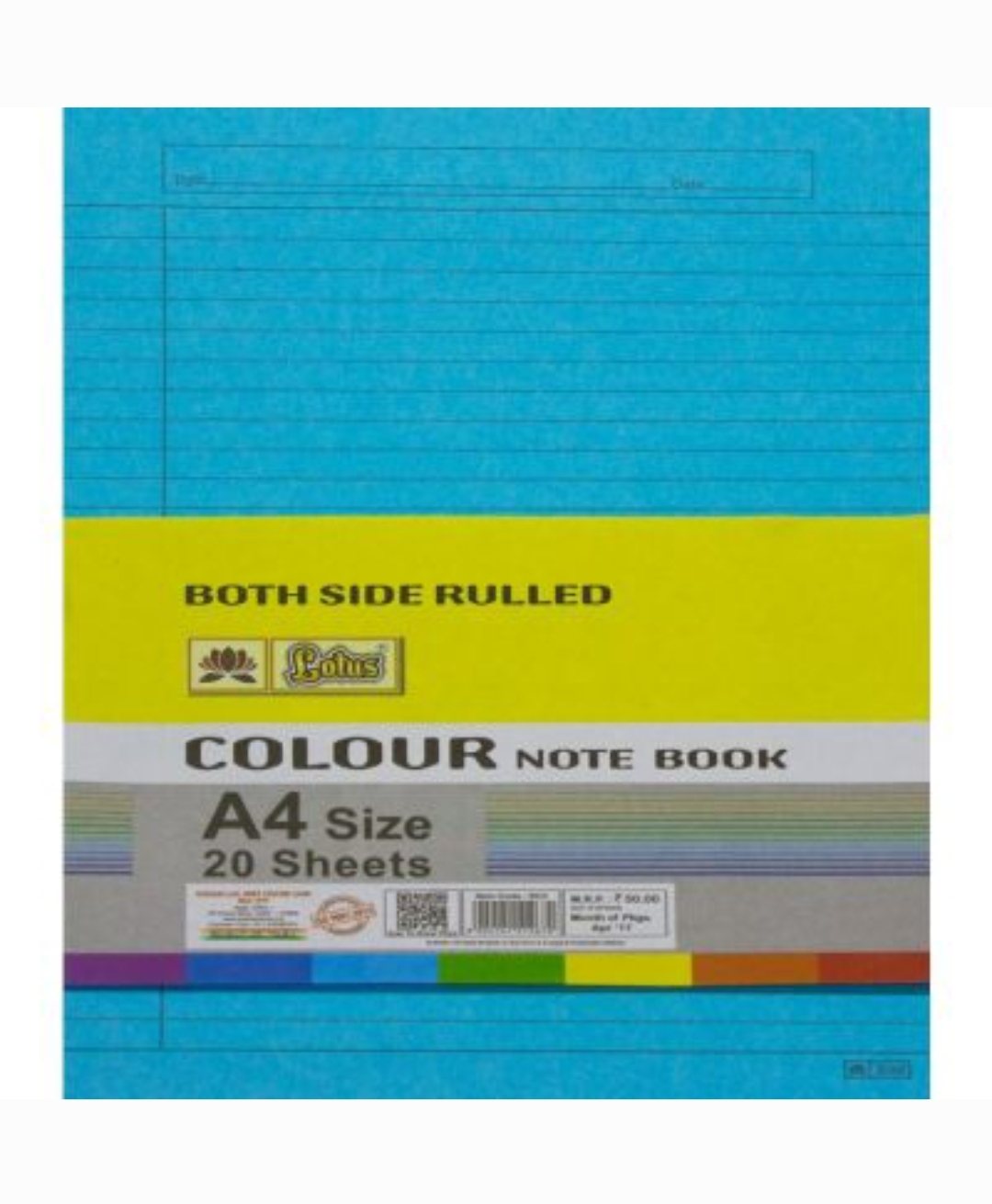 Lotus A4 Size Multi Use Paper Colorful Both Side Ruled 20 Sheets Pack