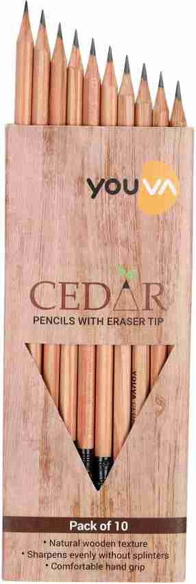 Navneet Youva Cedar Pencils With Eraser Tip (1 Pack of 10 Pencils)