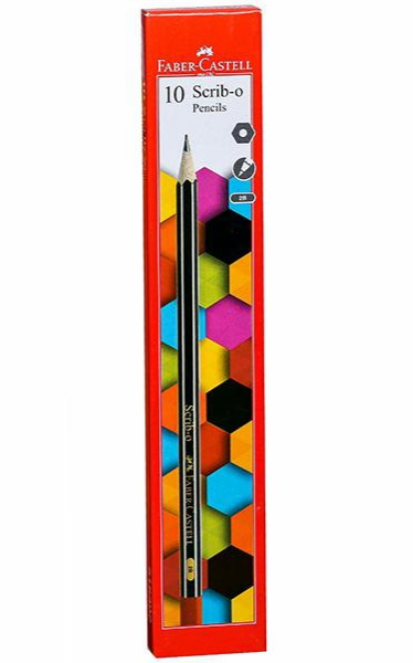 Faber Castell 10 Scrib- O Pencils Hexagonal With 1 Eraser & 1 Sharpener Pack of 10 Pencils
