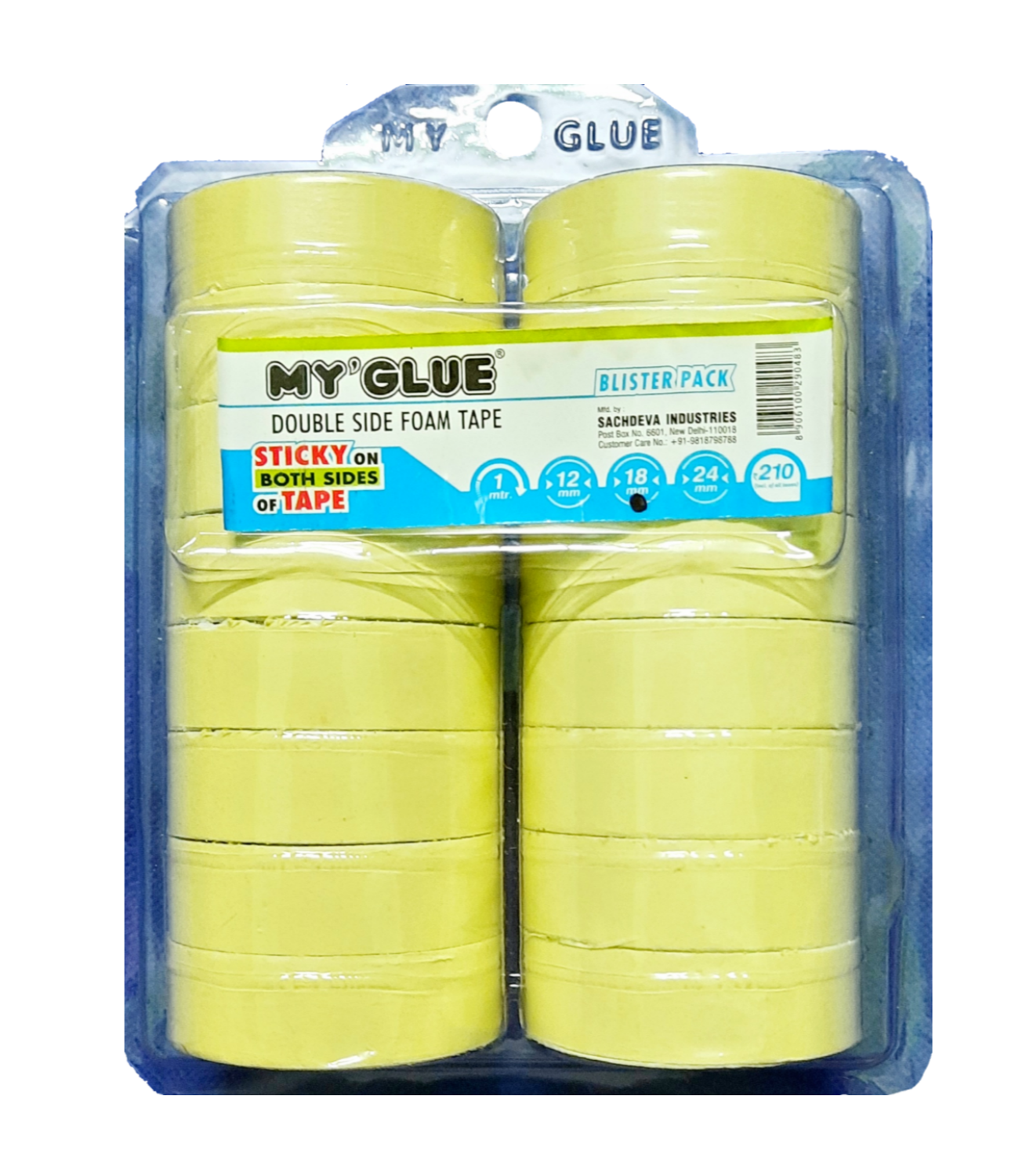 MY GLUE MULTI-PURPOSE DOUBLE-SIDED MOUNTING FOAM TAPE (18 MM X 5 YARDS, PACK OF 16)