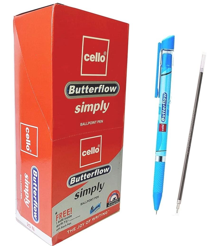 Cello Butterflow Simply Blue Ball Pen  Blue Pen Pack of 10 Pens