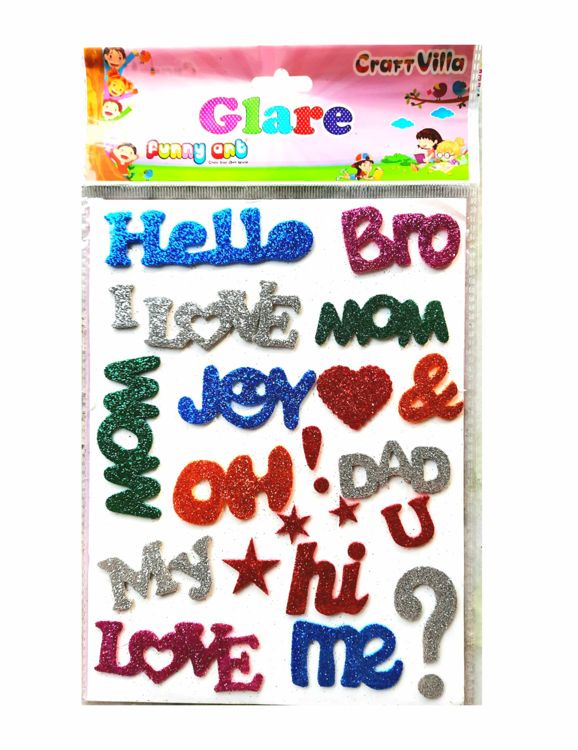 Craft Villa Glare Sparkle Glitter Self Adhesive (Multi Color) Eva Foam Sticker (Greeting Word Shape) Stickers for Craft , DIY, Scrapbooking and Decoration etc
