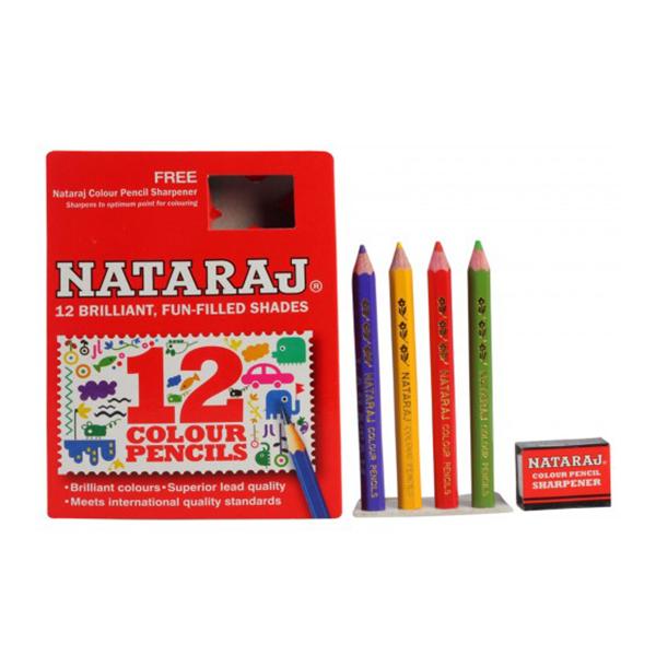 Nataraj 12 Half Size Colour Pencils, 12 Shades, Multicolour