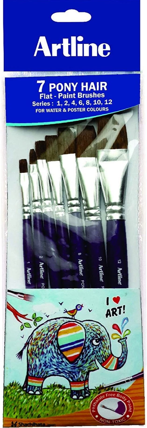 Artline 7 Flat Pony Hair Paint Brushes Set (Size 1,2,4,6,8,10,12) For Water & Poster Colours
