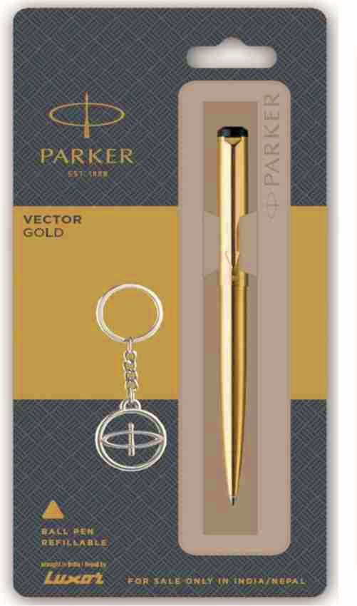 Parker Vector Gold Ball Pen + Key Chain (Pack of 1)