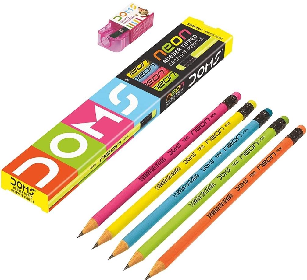 Doms Neon Pencils Neon Colour 10 Pack of 10 Pencils(100 Pencils)