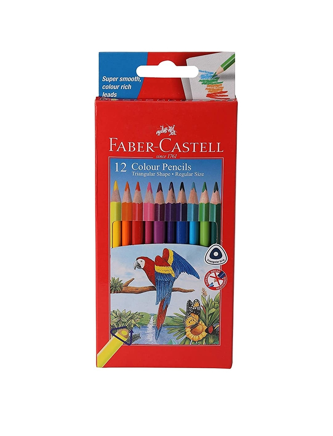 Faber Castell Triangular Water Soluble Colour Pencils Pack of 12