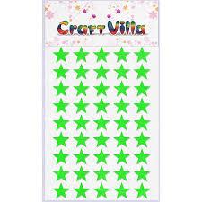 Craft Villa Glister Sparkle Glitter Self Adhesive (Green Color) Eva Foam Sticker (Star Shape) Stickers for Craft , DIY, Scrapbooking and Decoration etc