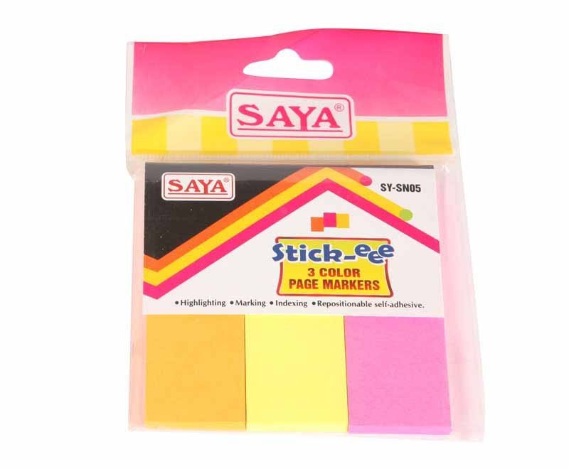 Saya Stick-eee Note Pads, 150 Sheets ,75X75mm,  3 Tabs, Pack of 1
