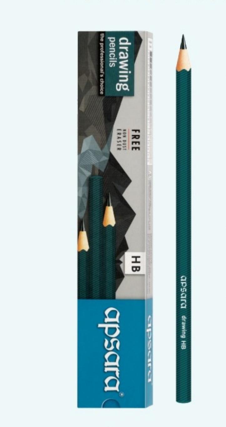 Apsara Assorted Drawing Pencils HB, B , 2B, 2B, 4B, 6B Pack of 1 (6 Pencils)