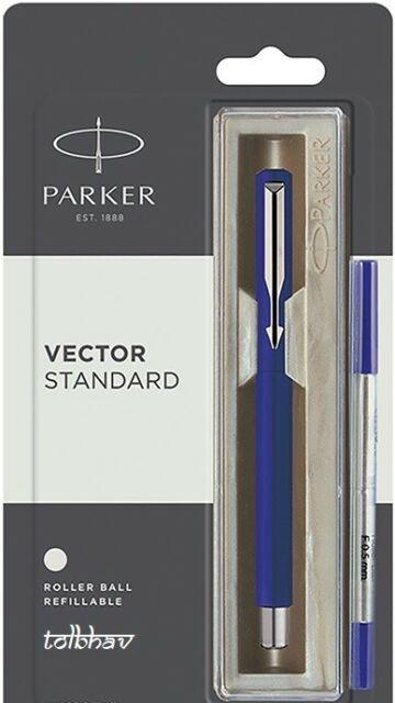 Parker Vector Standard Chrome Trim Roller Ball Pen (Pack of 1) Blue Body