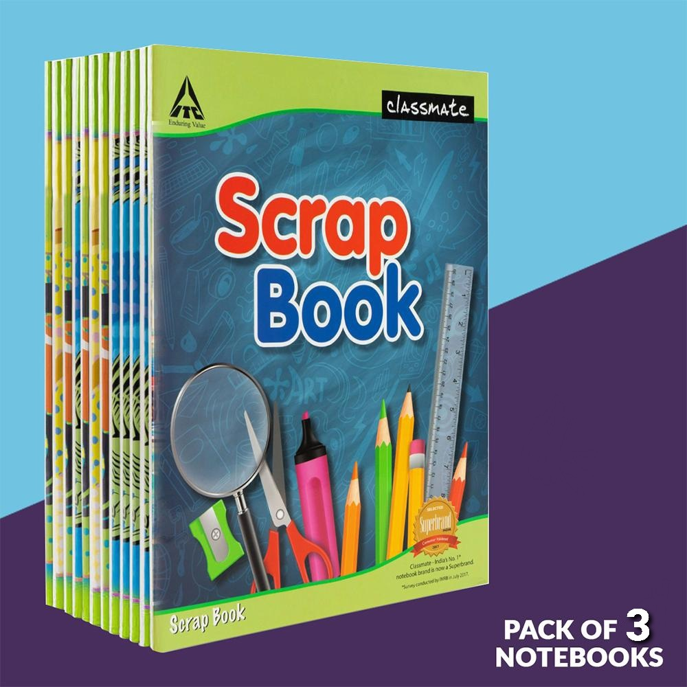 Classmate Scrap Book Soft Cover 36 Pages 28X22 cm Plain and Ruled Pack of 3